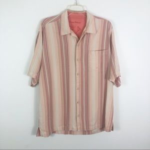 Tommy Bahama Striped Silk Button Front Shirt L